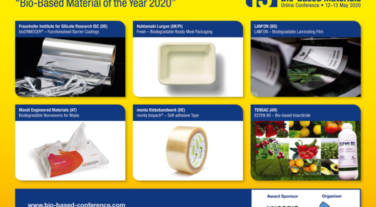 Partner show nominees for the innovation award  bio based material of the year 2020